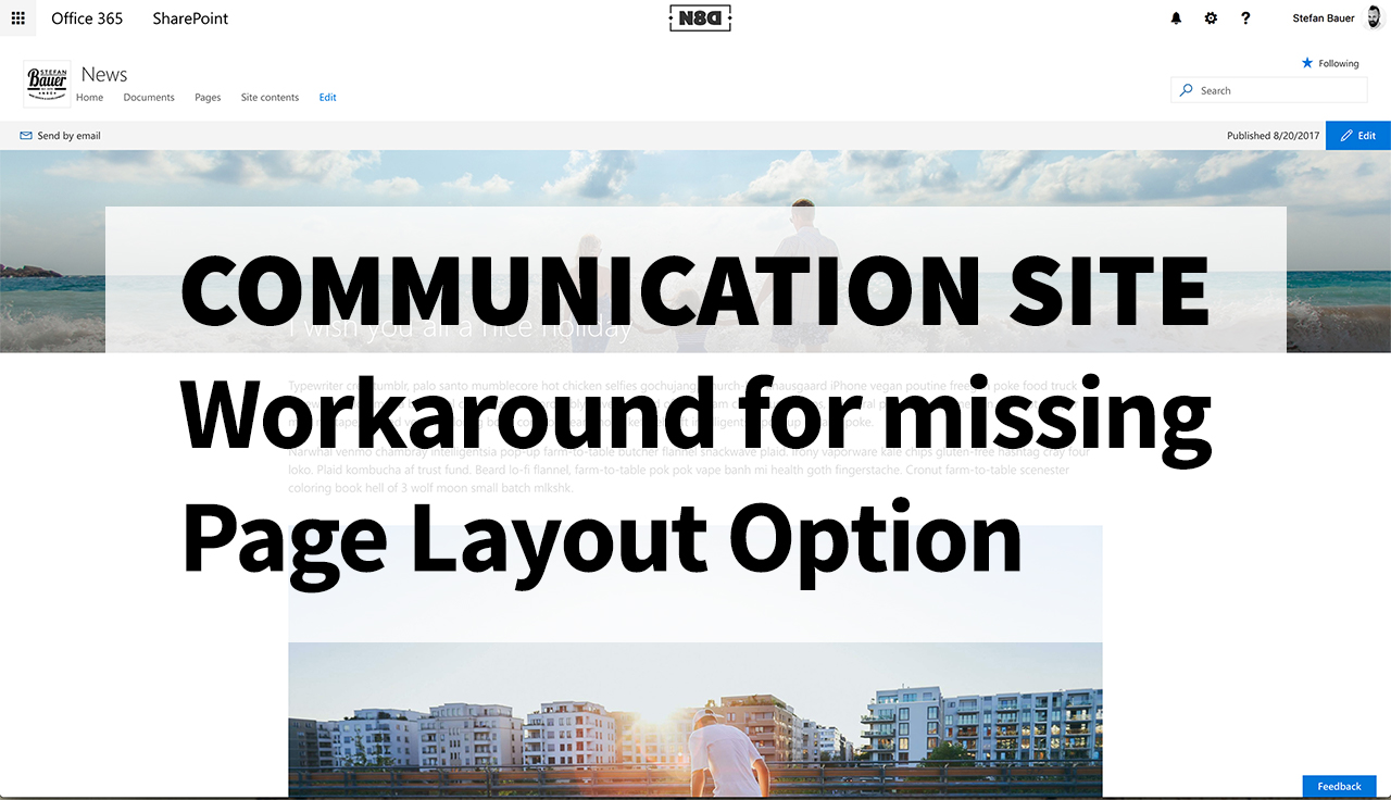 Communication Site: Workaround for missing page layout option